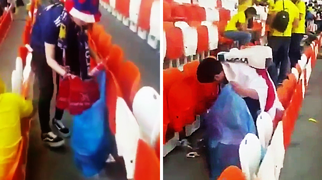 World Cup's Japanese Fans Bring Garbage Bags to Pick Up Their Trash After Games