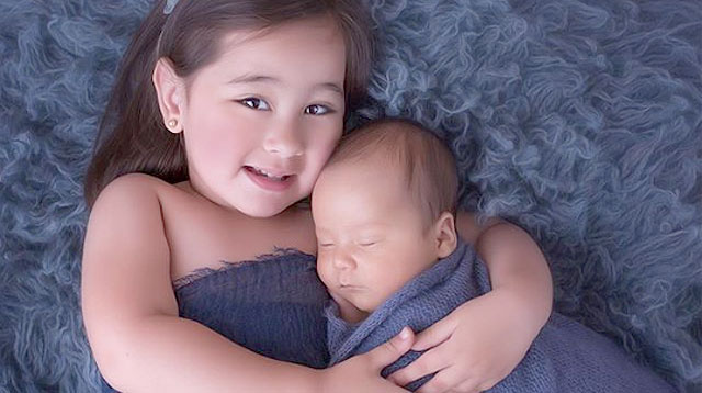 LOOK: Scarlet Snow Is A Loving 'Ate Tita' To Hunter James Pitt in Newborn Photo Shoot!