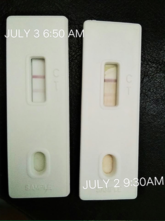 pregnant test stick positive