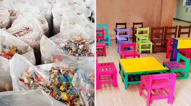 These School Chairs Are Made From Candy Wrappers and Plastic Straws!