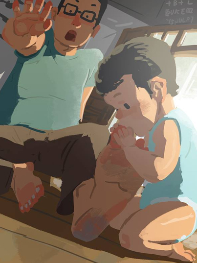 single dad and son illustrations