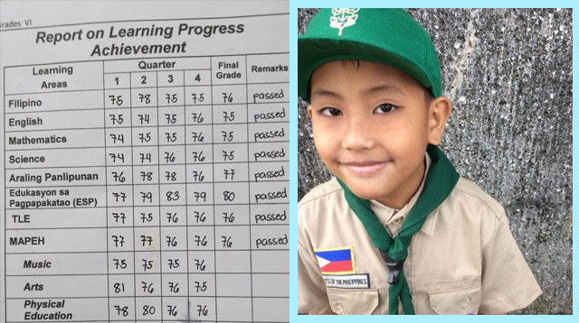 This Public Elementary Student Proudly Graduated With a General Average of 76