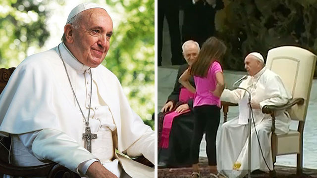 Girl With Autism Walks Up The Stage At Pope Francis' Audience And This Is What Happened