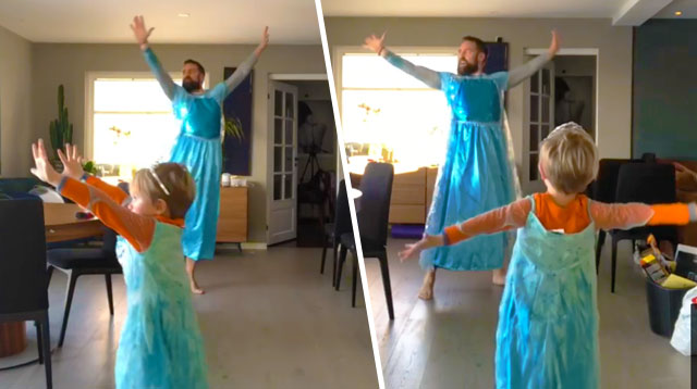 WATCH: Dad And Son Adorably Dance To Frozen's Let It Go In Matching Dresses
