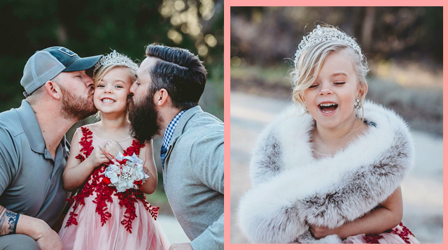 LOOK! Little Girl Poses With Her Two Fathers Ahead of Daddy/Daughter Dance