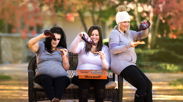 Three Pregnant Friends Have Fun In A Pizza And Chocolate-Themed Maternity Shoot