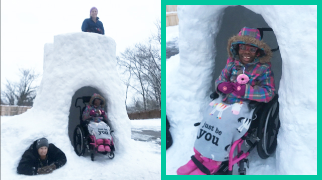 Dad Builds Wheelchair-Accessible Igloo For Delighted Daughter