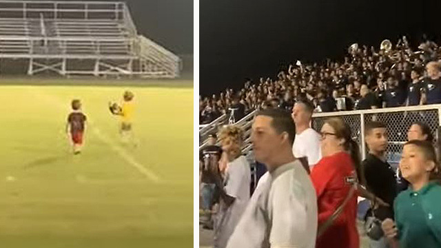 Crowd Goes Wild for Tiny Kids Playing on Field Before High School Football Game