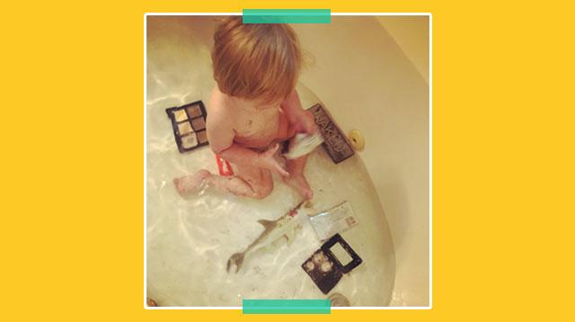 Mom Left Heartbroken After Toddler Destroys Her Expensive Makeup During Bathtime