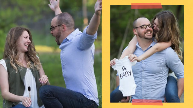 Woman Reveals Pregnancy To Her Husband During Their Anniversary Photoshoot