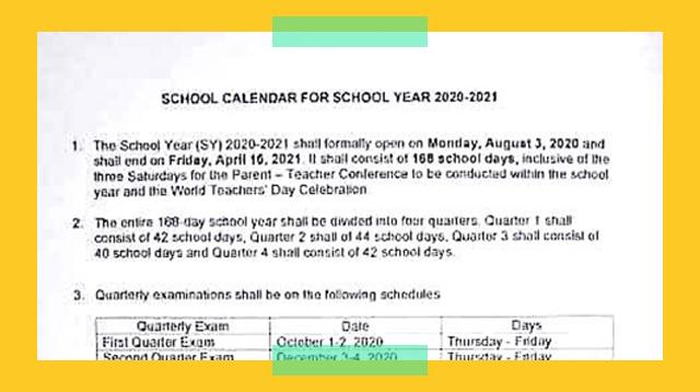 DepEd Nag-Abiso Tungkol Sa Kumalat Na School Year 2020-2021 Schedule