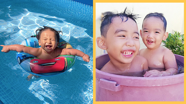 20 Photos Of Kids Beating The Heat With Timba, Batya, And Inflatable Pools