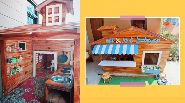 Quarantine Project Ba Kamo? Couple Builds Playhouse Using Recycled Wood For Their Kids