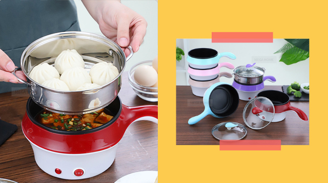 You Can Cook Rice, Steam, And Fry Food In This Mini Electric Cooker!