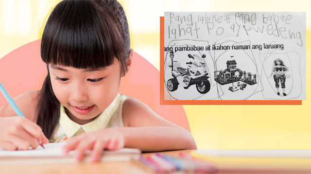 6-Year-Old's Answer To Homework Assigning Toys Based On Gender: 'Lahat Ay Pwede'