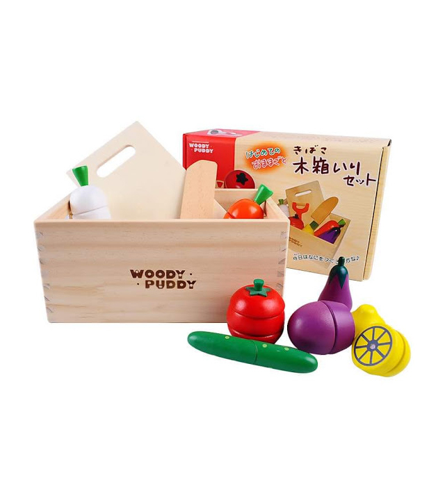 wooden toy fruits and vegetables knife set