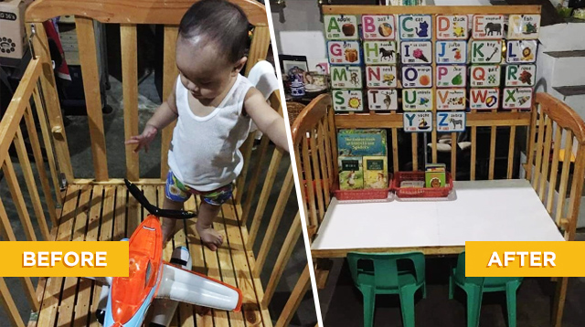 Laking Tipid! Mom Repurposed Baby's Wooden Crib Into A Toy Storage And Study Table