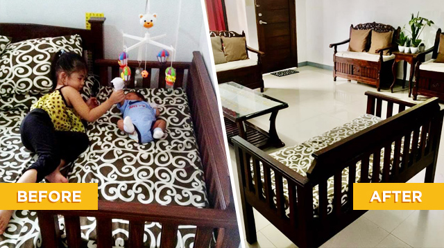Dad Transforms Bed Extension For Baby Into A Chic 2-Seater Sofa