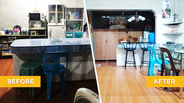 See This Couple's Low Budget Kitchen And Living Room Makeover Using Thrifted Furniture