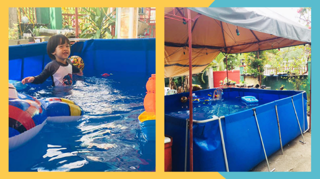 Unli Babad! Family Builds Foldable, 3-Feet Pool In Their Garden For P10,000