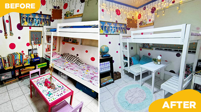 Menos Gastos! Couple Transforms Part Of Daughters' Bunk Bed Into A Mini Study Table