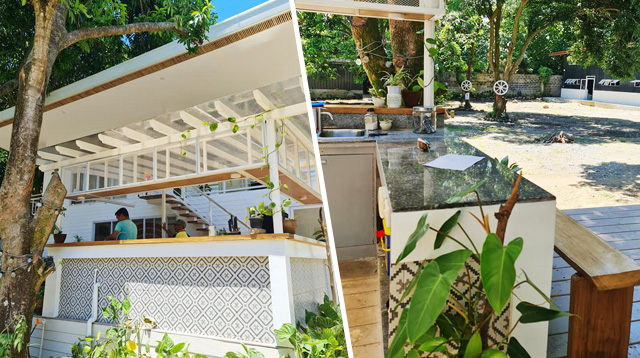Outdoor kitchen of the container van rest house