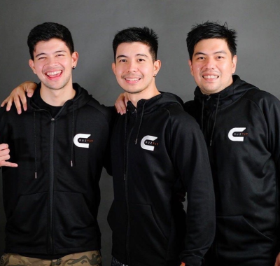 Rayver with his brothers Rodjun and Omar Cruz/> <figcaption class=
