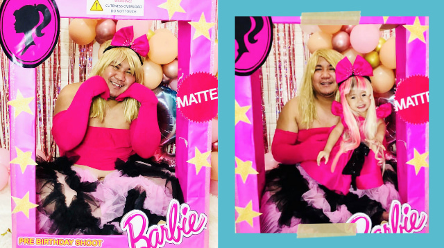 Walang Kiyeme! Dad Dresses Up As Barbie For Toddler Daughter's Pre-Birthday Shoot