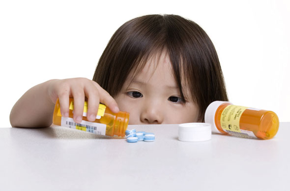 Girl with medicines