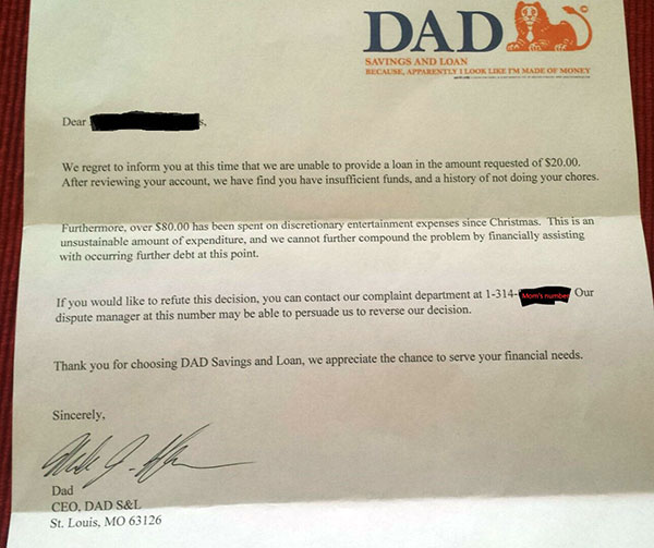 Allowance denial letter from Dad Savings and Loan