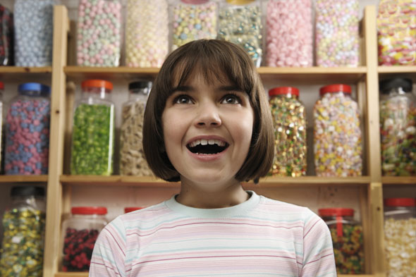 Child at a candy store