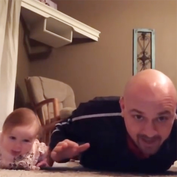 This Made our Day: Father and Baby Daughter Exercise Together