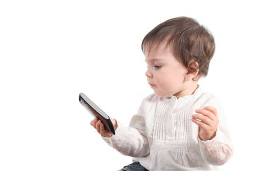 baby holding smartphone