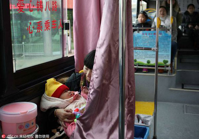 breastfeeding-friendly bus seat in China
