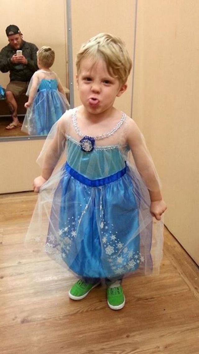boy dressed as Elsa of Frozen