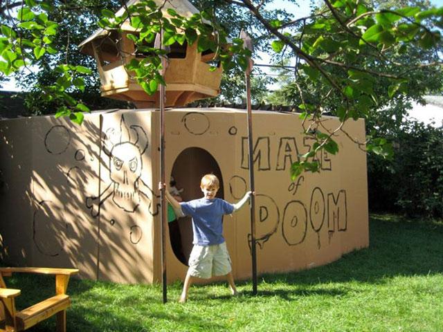 Cardboard camp maze