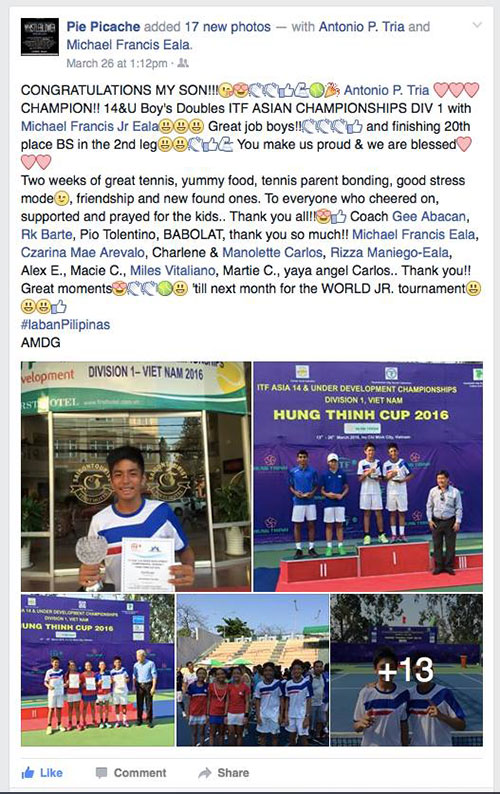 Cherry Pie Picache FB post on son's tennis win
