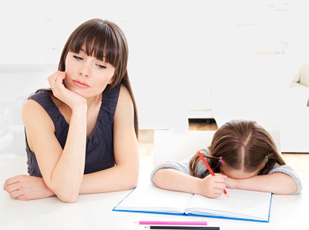 mom and child doing homework