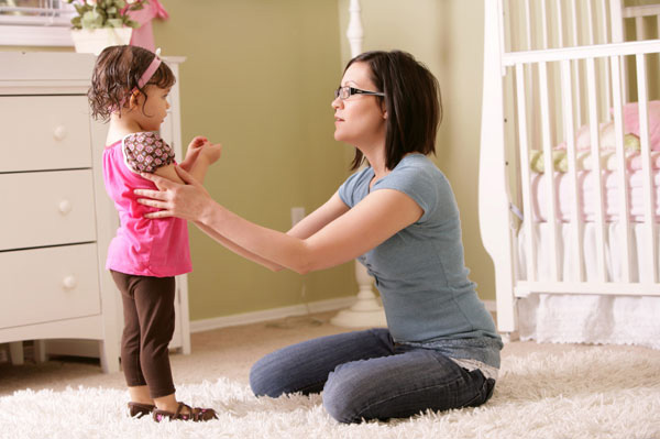 mom talking to child