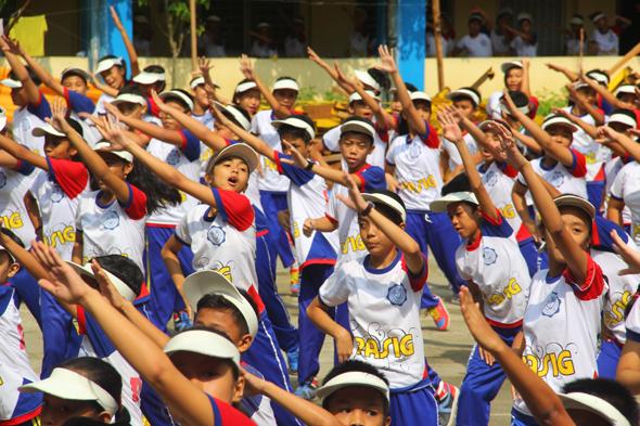 School children exercising