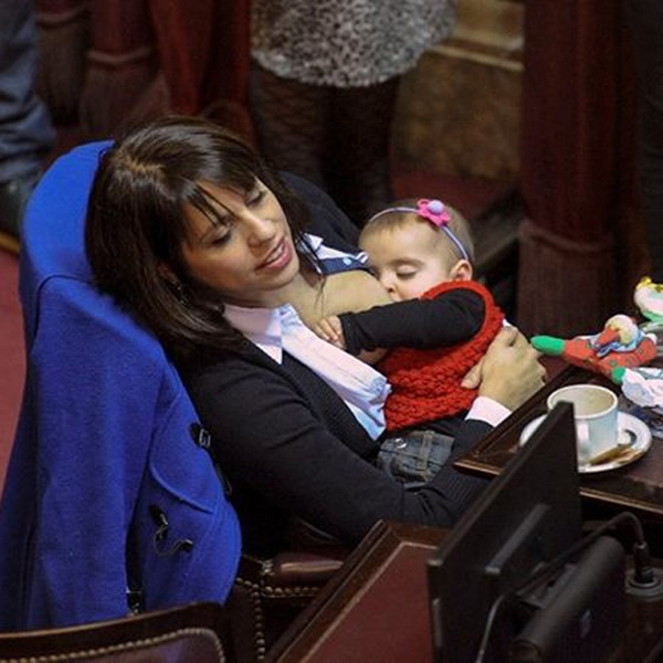 Top of the Morning: Human Rights Activist Breastfeeds At Work