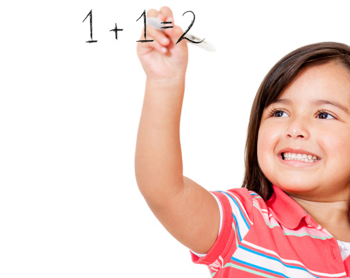child solving math problem