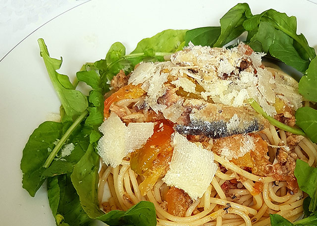 Mother's Day Recipe - Tomato Arugula and Mega Sardine Pasta