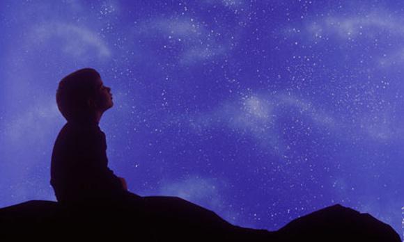 boy star gazing