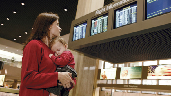 mom and baby in airport