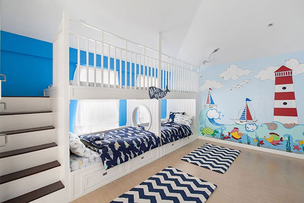 child's room with nautical theme