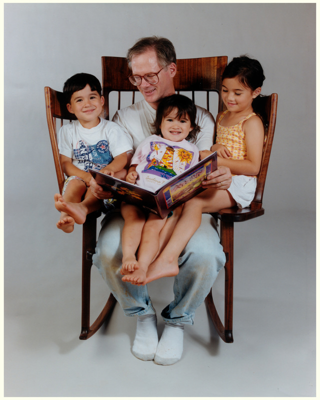 Hal Taylor and his kids on the Storytime Rocking Chair