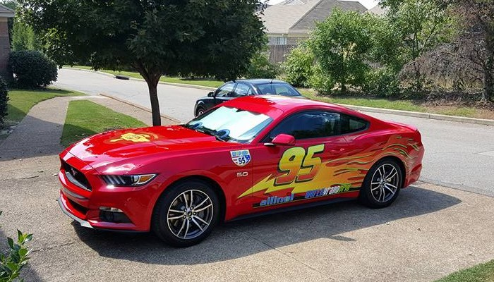Brett Winek's red Mustang