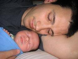 daddy baby sleeping