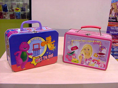 Barney and Barbie lunchboxes